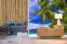 beach scene, palm tree, bamboo. Murals and wallpaper