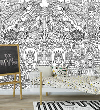 princess mural, black and white kids mural, princess and dragons.