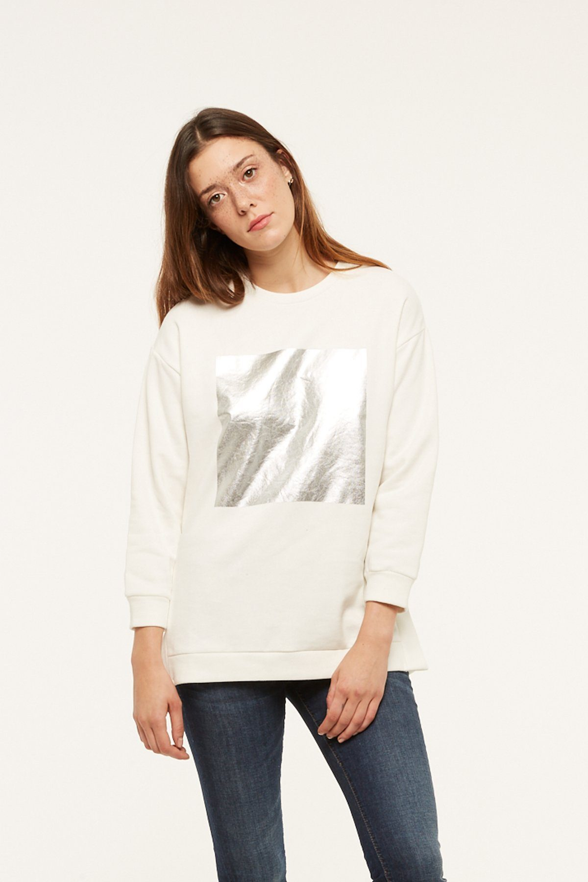 Sweat Emalu - Blanc/Argent