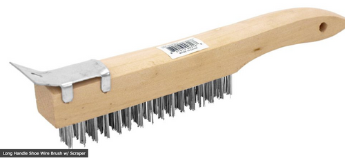 Long Handle Shoe Wire Brush w/ Scraper