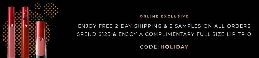 Giorgio Armani Beauty Free 2-Day Shipping on All Orders + Complimentary Lip Trio on Purchases $125