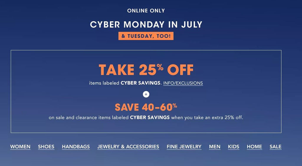 Cyber Monday in July at Bloomingdales