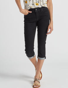 YMI Juniors' Roll Cuff Black Capri Pants Now $8.40 Regularly $42.00