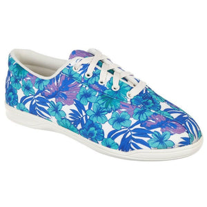 Women's Easy Spirit Floral Print Lace - Up Sneakers Blue $9.99