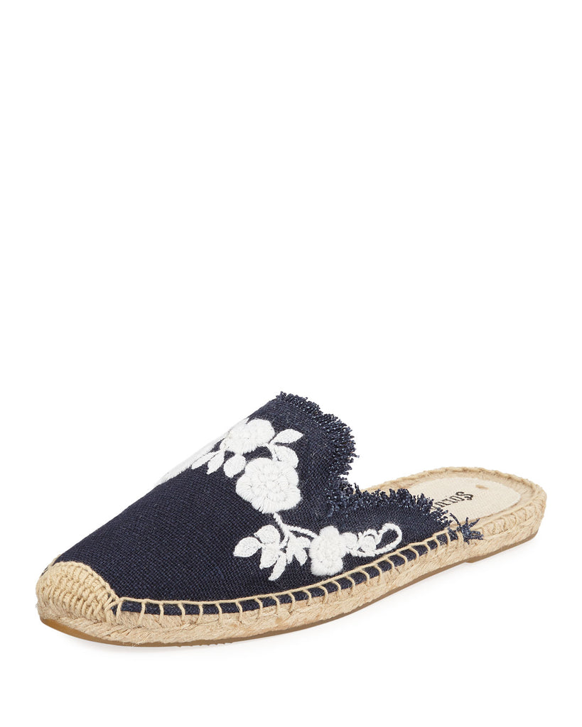 Women's Frayed Floral Espadrille Mules from Soludos Regularly $85.00 Now $27.20