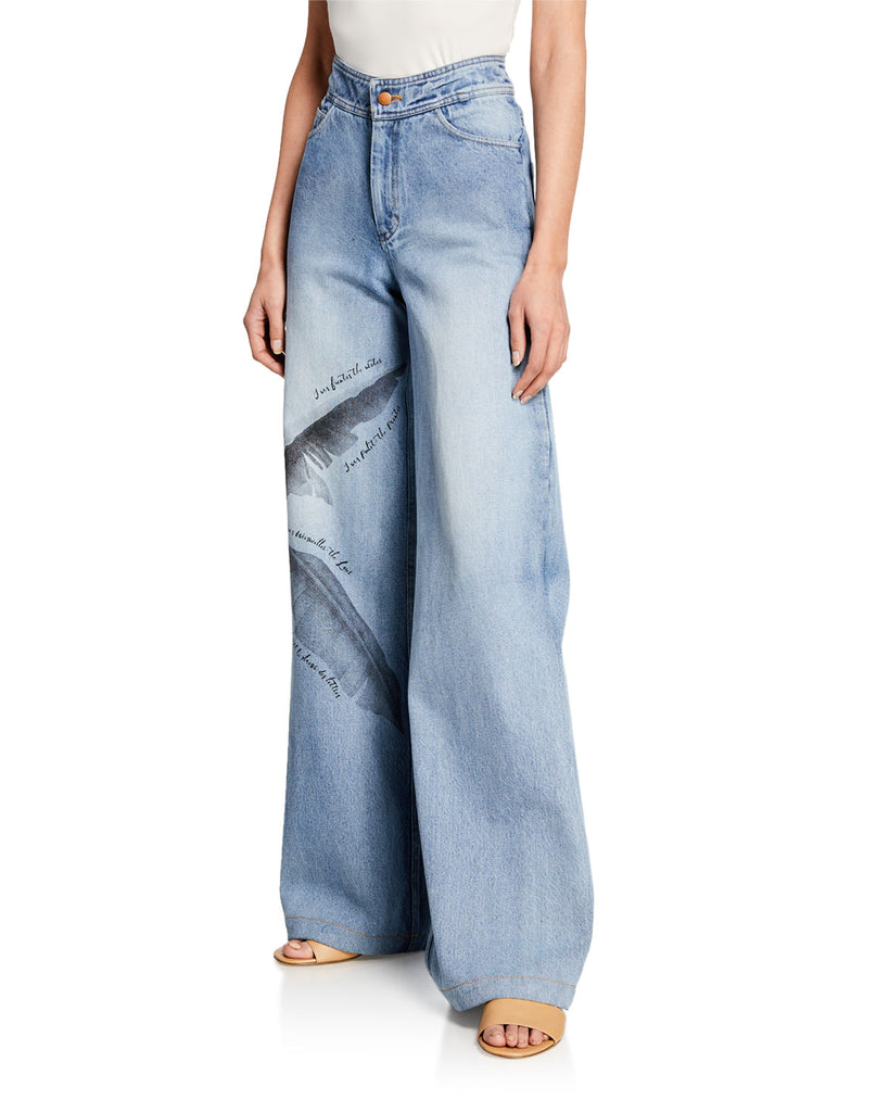 Johanna Ortiz Pale Blue Spirit High-Rise Wide Leg Feather Print Jeans Regular $650 Now $163