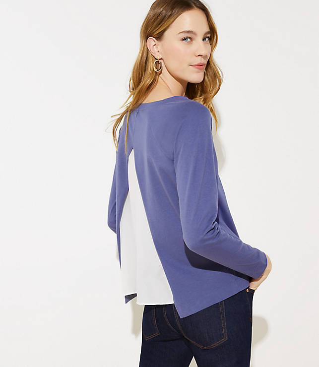 Women's Split Back Mixed Media Sweatshirt Regular Price $39.50 Now $5.93