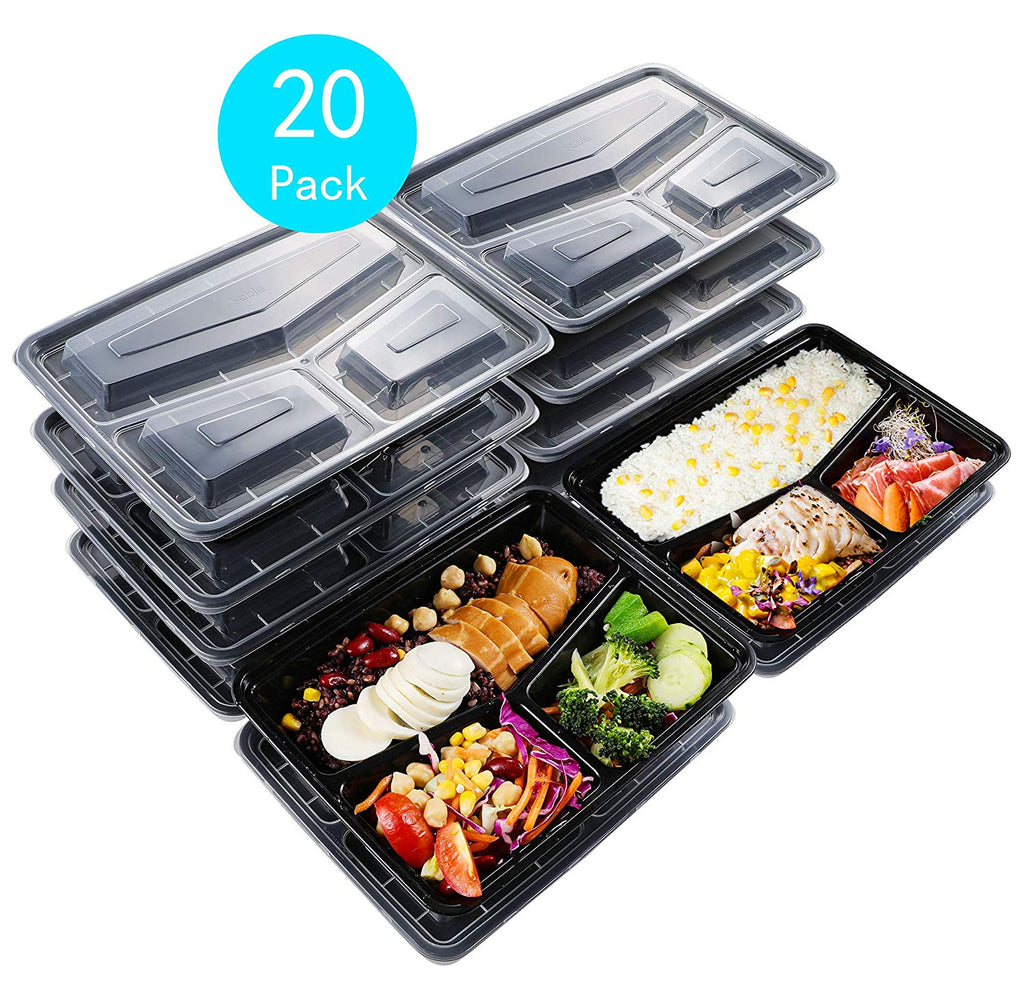 Sable Meal Prep Containers 20 Pack (33 oz), 3 Compartment Leak-Proof Reusable, Regular $19.99, Now $8.99