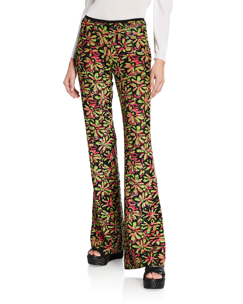 Michael Kors Collection Women's Watermelon-Lime Daisy Embellished Flare Pants Regular Price $6,995 Now $1,748