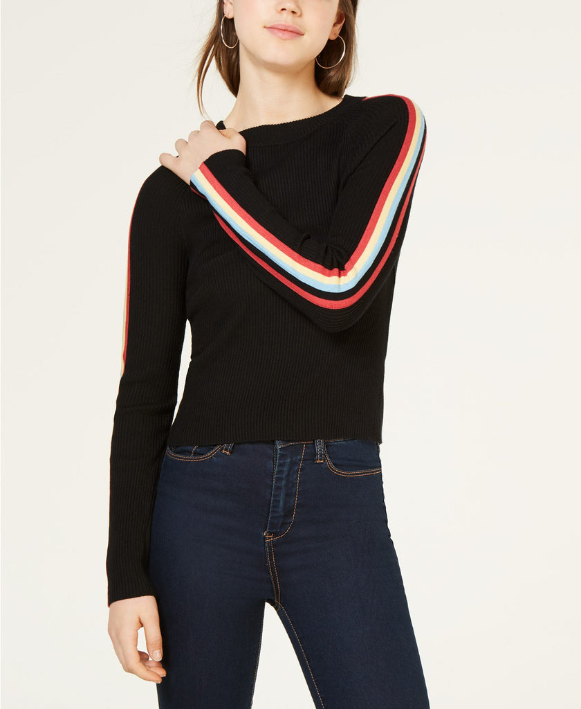 Hippie Rose by Papercut Junior's Striped Sleeve Sweater $5.36
