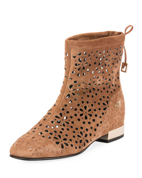 Roger Vivier Floral-Perforated Suede Flat Booties Comparable Value: $1,325.00   Price: $530.00 With 30% off : $371.00