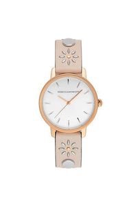 BFFL Rose Gold Tone Blush Studded Strap Watch, 36MM