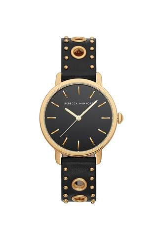 BFFL Gold Tone Black Leather Strap Watch, 36MM