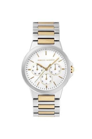 Cali Two Tone Stud Strap Gold Plated Bracelet Watch, 36MM