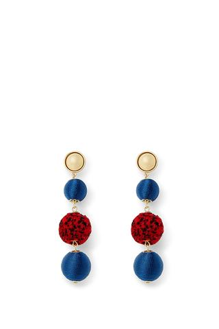 Threaded And Pom Sphere Drop Earrings