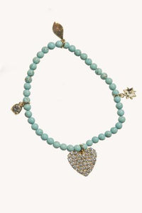 Pave Heart Beaded Stretch Bracelet