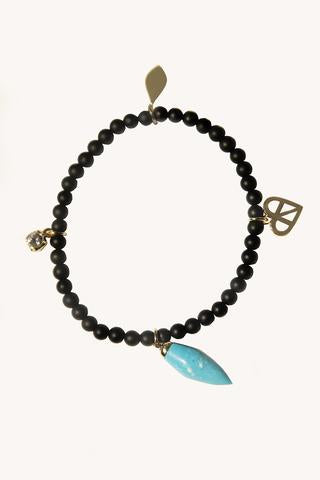Turquoise Drop Beaded Stretch Bracelet