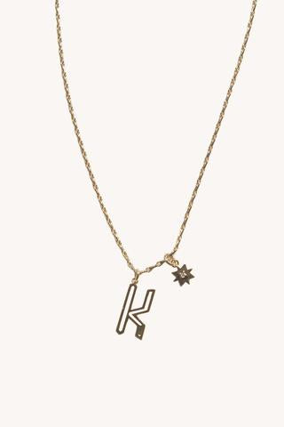 """K"" Cut-out Initial Necklace"