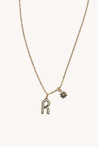 """R"" Cut-out Initial Necklace"