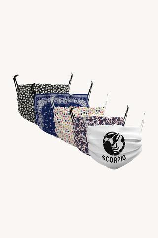 Scorpio Zodiac Printed Masks, Set of 5