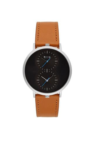 Griffith Silver Tone Tan Leather Strap Watch, 43MM