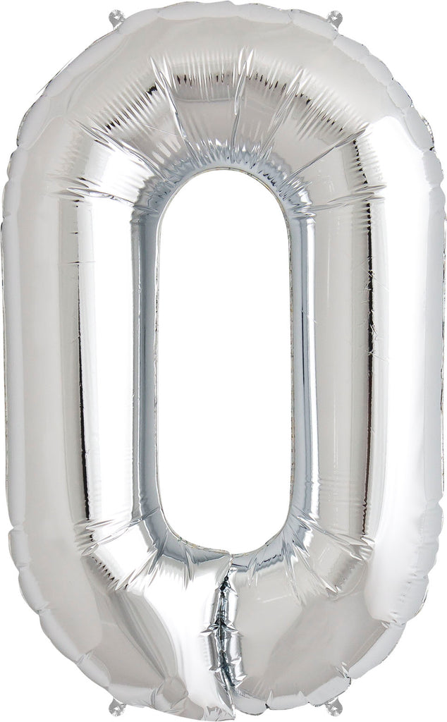 Large Silver Number 0 Balloon By Unique