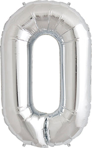 Large Silver Number 0 Balloon