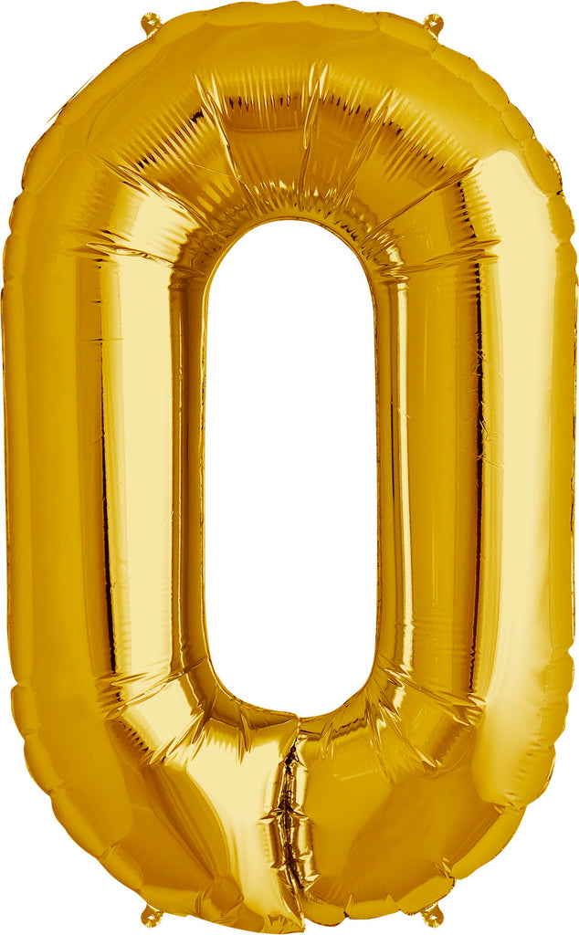 Large Gold Number 0 Balloon by Unique