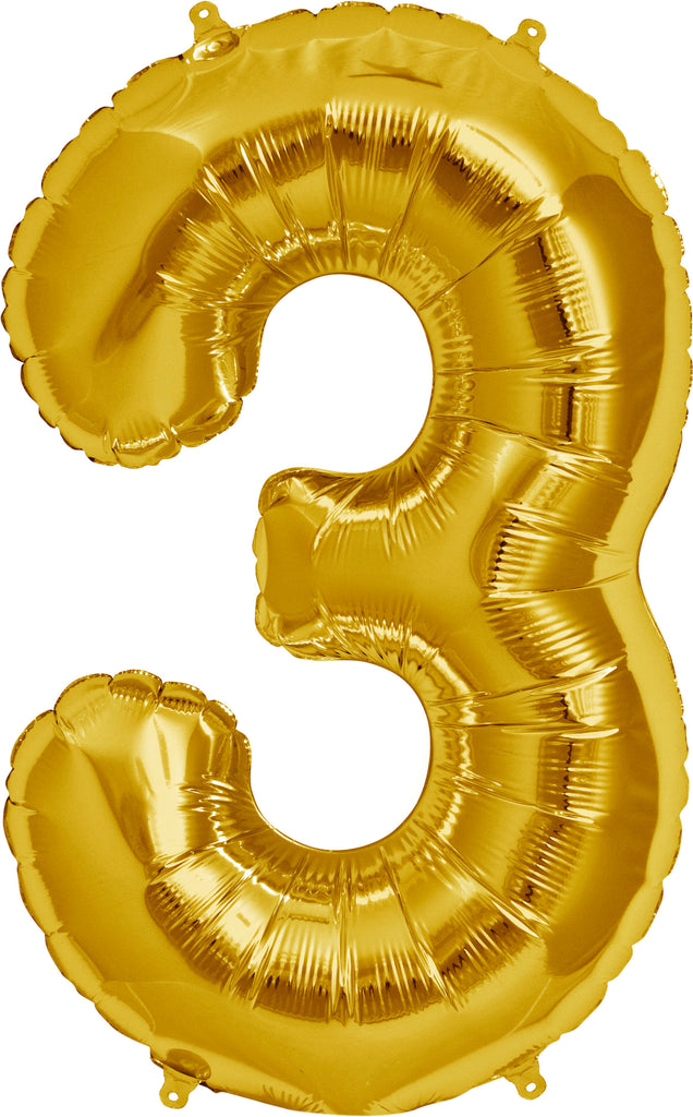 Large Gold Number 3 Balloon