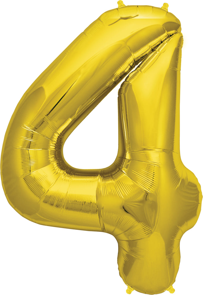Large Gold Number 4 Balloon by Unique