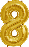 Large Gold Number 8 Balloon