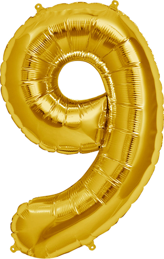 Large Gold Number 9 Balloon