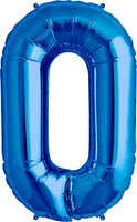 Large Blue Number 0 Balloon