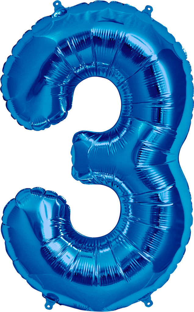 Large Blue Number 3 Balloon By Unique