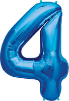 Large Blue Number 4 Balloon By Unique