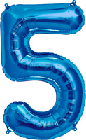 Large Blue Number 5 Balloon