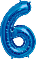 Large Blue Number 6 Balloon