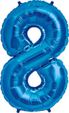 Large Blue Number 8 Balloon
