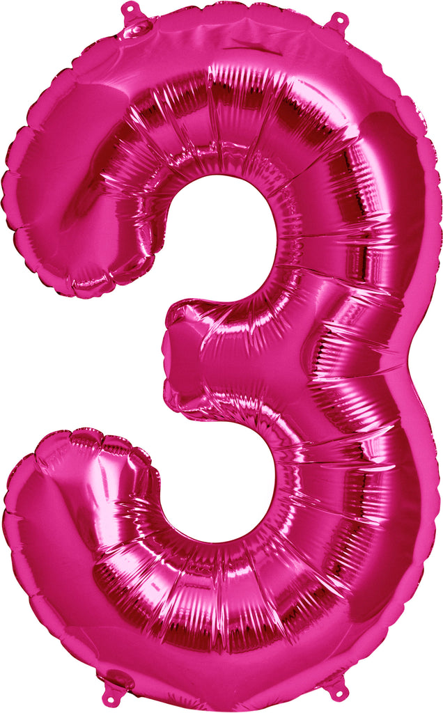 Large Pink Number 3 Balloon