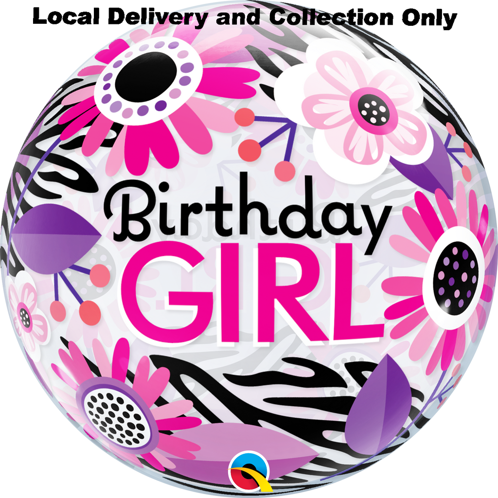 Birthday Girl Floral Zebra Stripes Bubble Balloon
