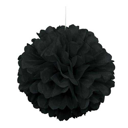"16"" Black Tissue Paper Decor Puff Ball"
