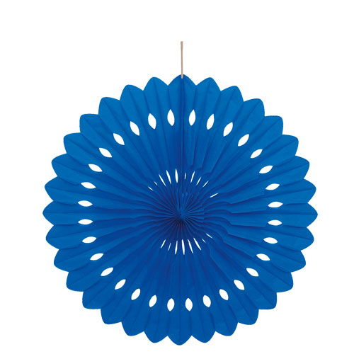 "16"" Royal Blue Tissue Paper Fan"