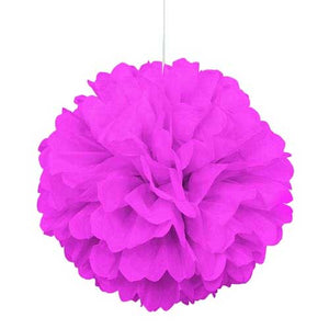 "16"" Hot Pink Tissue Paper Decor Puff Ball"