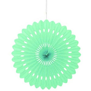 "16"" Mint Green Tissue Paper Fan"