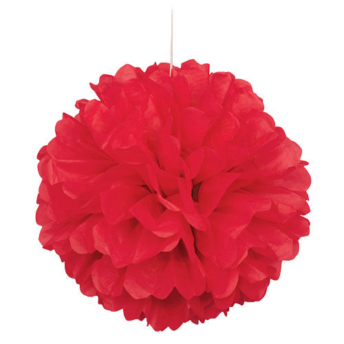 "16"" Red Tissue Paper Decor Puff Ball"