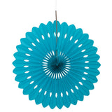 "16"" Teal Tissue Paper Fan"