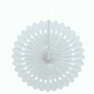 "16"" White Tissue Paper Fan"