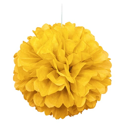 "16"" Yellow Tissue Paper Decor Puff Ball"