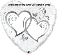 Entwined Hearts Silver Foil Balloon
