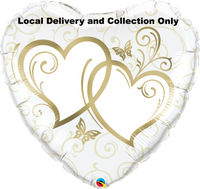 Entwined Hearts Gold Foil Balloon